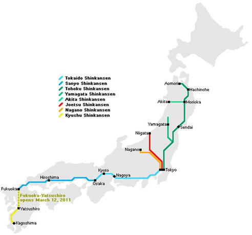 New Bullet Train Service - Japan map rail